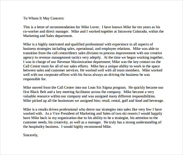 Professional Letter Of Recommendation Example Of Formal Letter Of