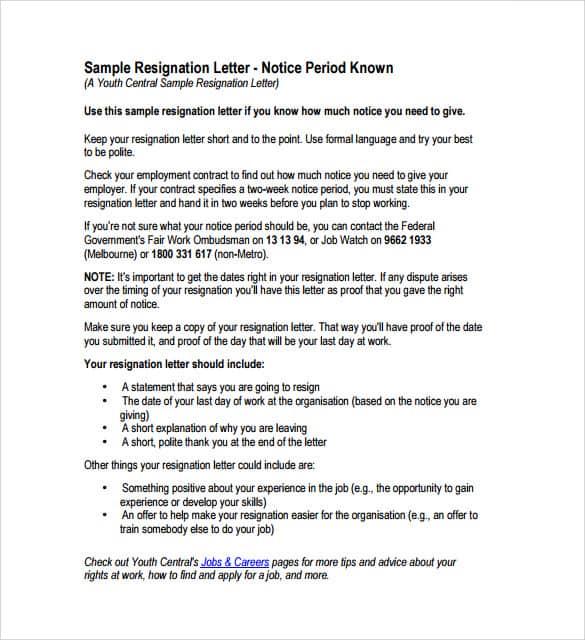 Resignation Letter 005  Employee Resignation Letter