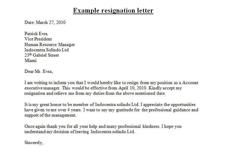 sample professional resignation letter