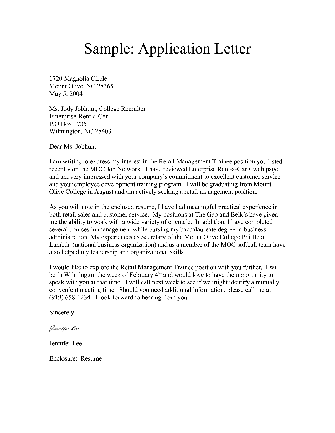 7 application letter samples sample letters word for Create a short application cover letter