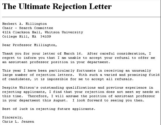 9 Rejection Letter Samples Sample Letters Word – Rejection Letter Sample