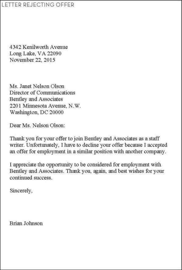 rejection letter sample 009