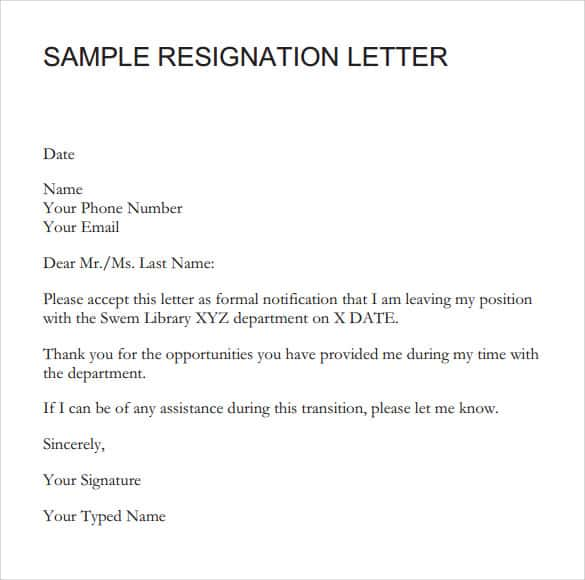Signation Letter Sample 001  Sample Resignation Letters