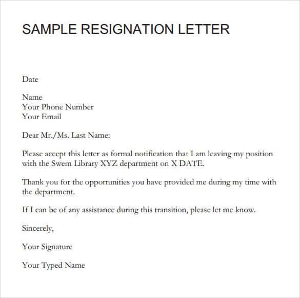 Formal Resignation Letter. Signation Letter Sample 001 Download Link Design Ideas