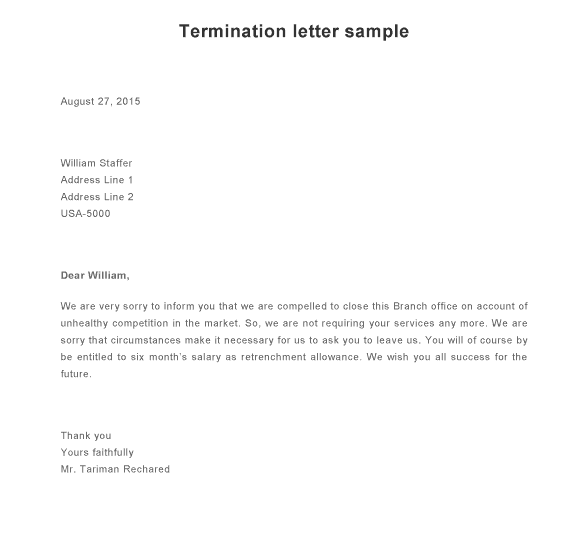 sample letters of termination of services