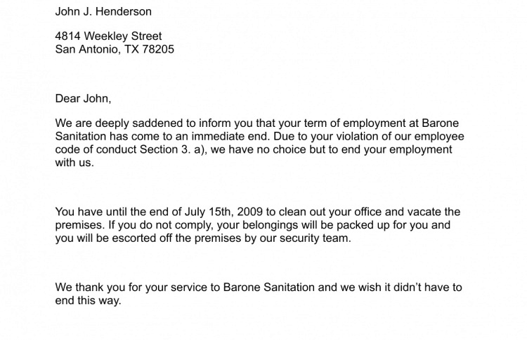 Termination Letter Sample  How To Write A Termination Letter To An Employee