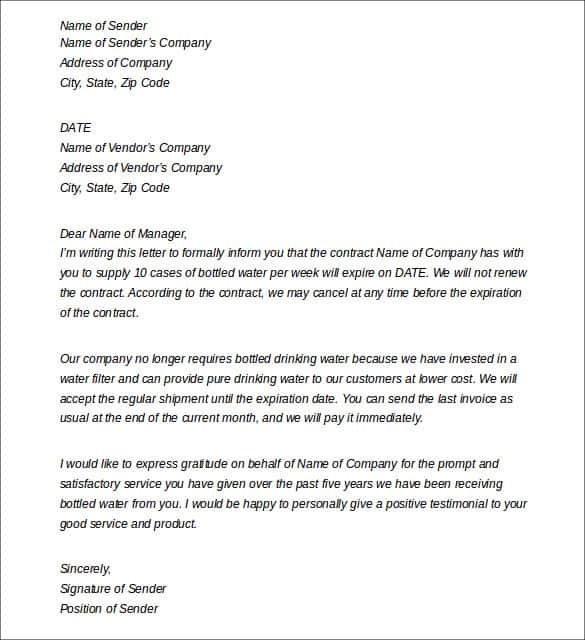 Termination Letter Sample 009  Termination Of Services Letter