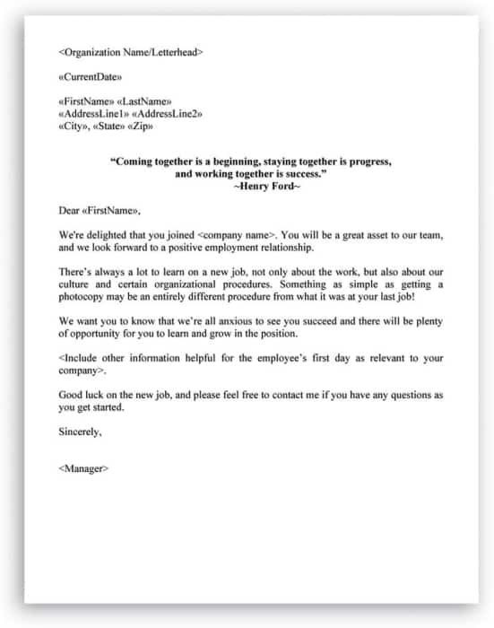Sample Welcome Letter  Welcome Letter Samples  Sample Letters