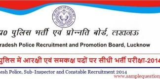 UP Police Recruitment 2014