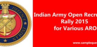 Schedule of Army Open Recruitment Rally 2015 for Various ARO