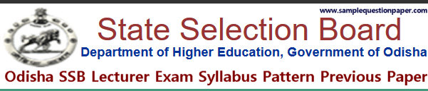 Odisha SSB Lecturer Exam Syllabus Pattern Previous Papers