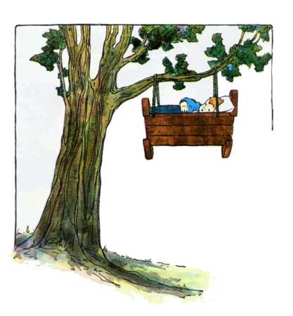 A baby in a cradle hanging from a treetop