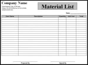 supply checklist template