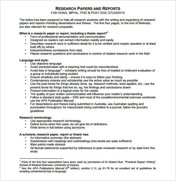 Research Report Template  Free Formats Excel Word