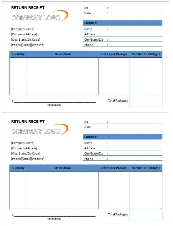 Return Receipt Template Free Formats Excel Word - Return invoice template