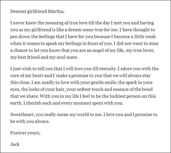 Sample of a love letter to a girlfriend
