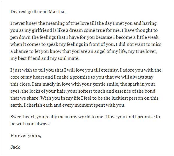 Sample love letter to girlfriend