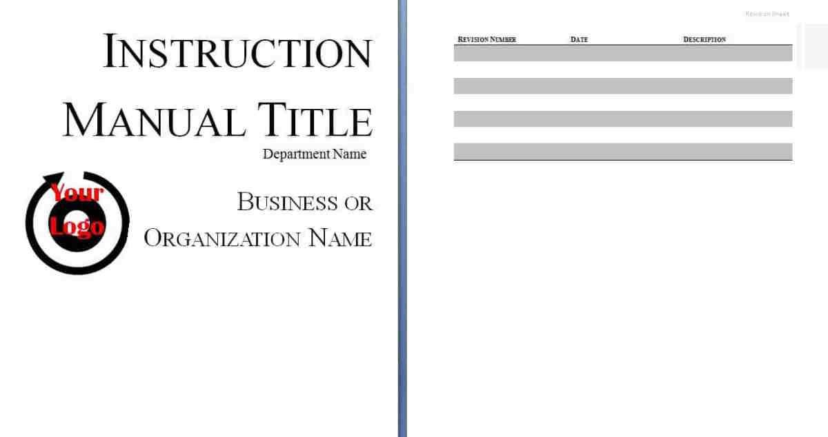 Instruction Manual Template | Free Sample Templates