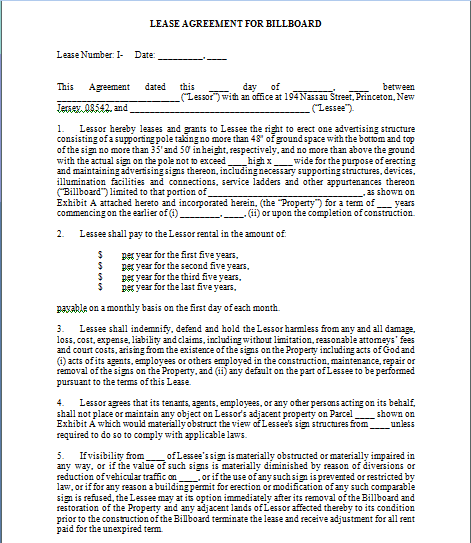 Billboard Lease Contract Template 1964994  Lease Contract Format