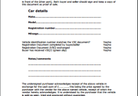 personal car sale contract