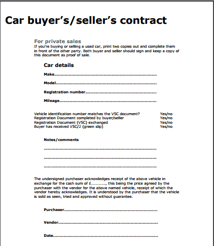 Car Sale Contract Template  Private Car Sale Contract Template
