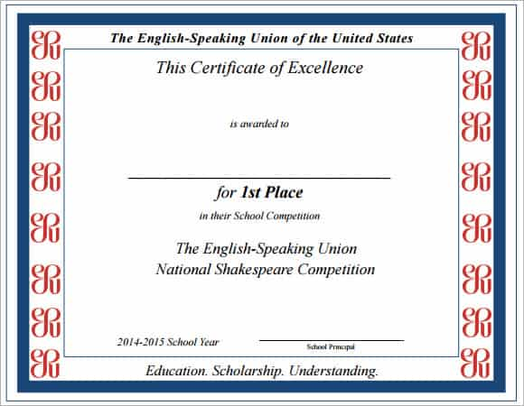 Certificate Of Excellence Template  Free Sample Templates