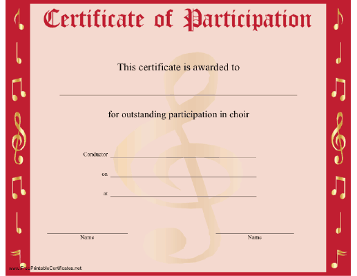 Certificate of participation template free sample templates for Free participation certificate templates for word