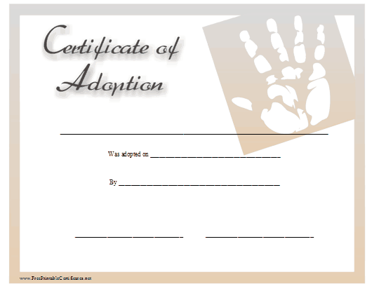 child adoption certificate template free sample templates