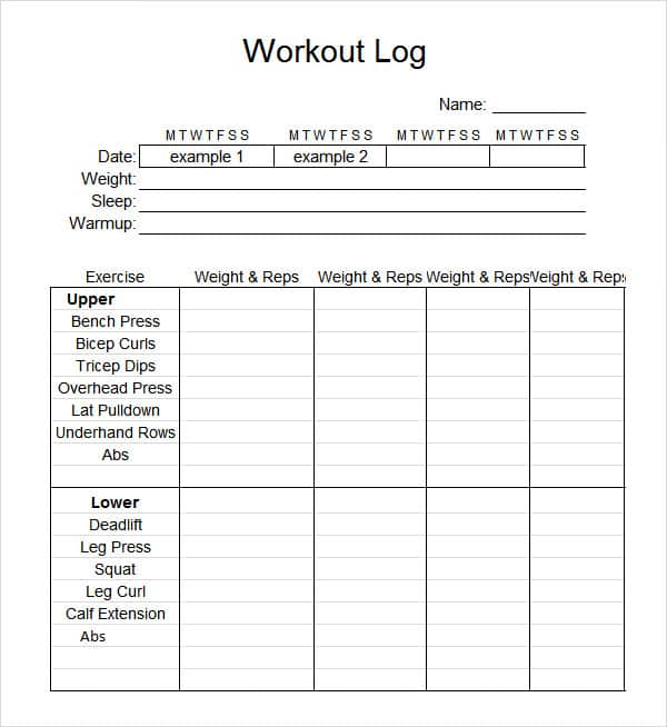 Printable Weight Training Daily Log