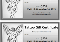 Printable tattoo gift certificate template free sample templates 6 tattoo gift certificate templates yadclub Gallery