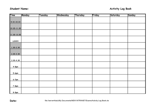 Student Activity Log Template 111
