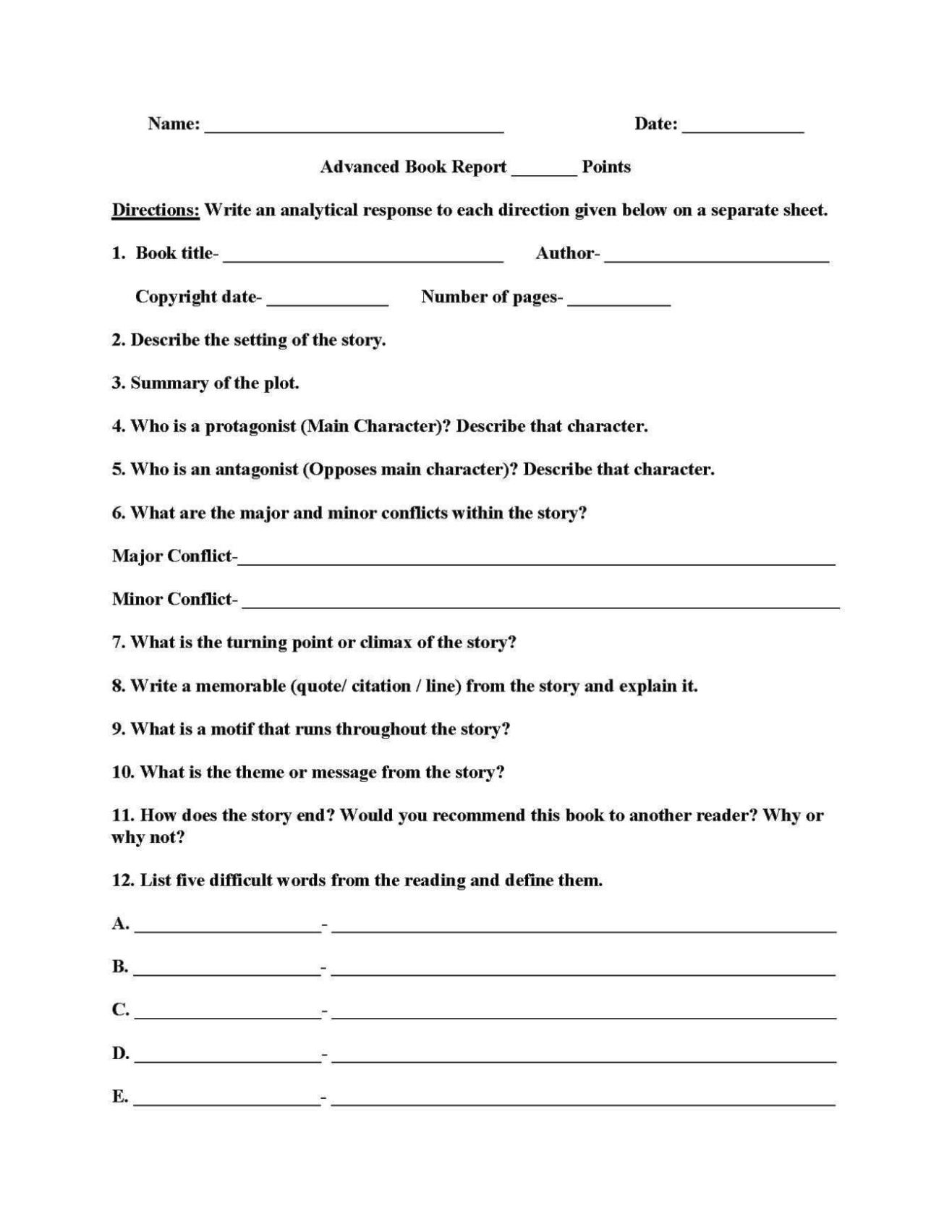 4th Grade Book Report Template