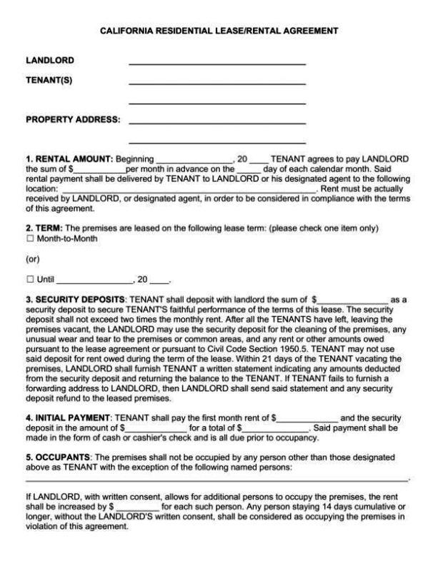 California Rental Agreement Template SampleTemplatess SampleTemplatess
