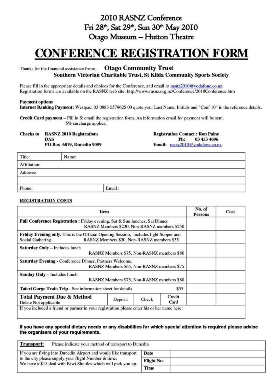 Conference Booking Form Template SampleTemplatess SampleTemplatess