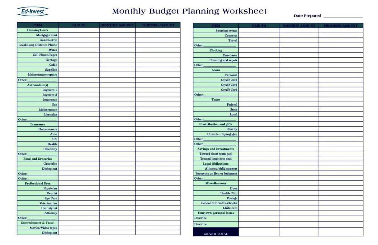 Personal Financial Planning Template Free