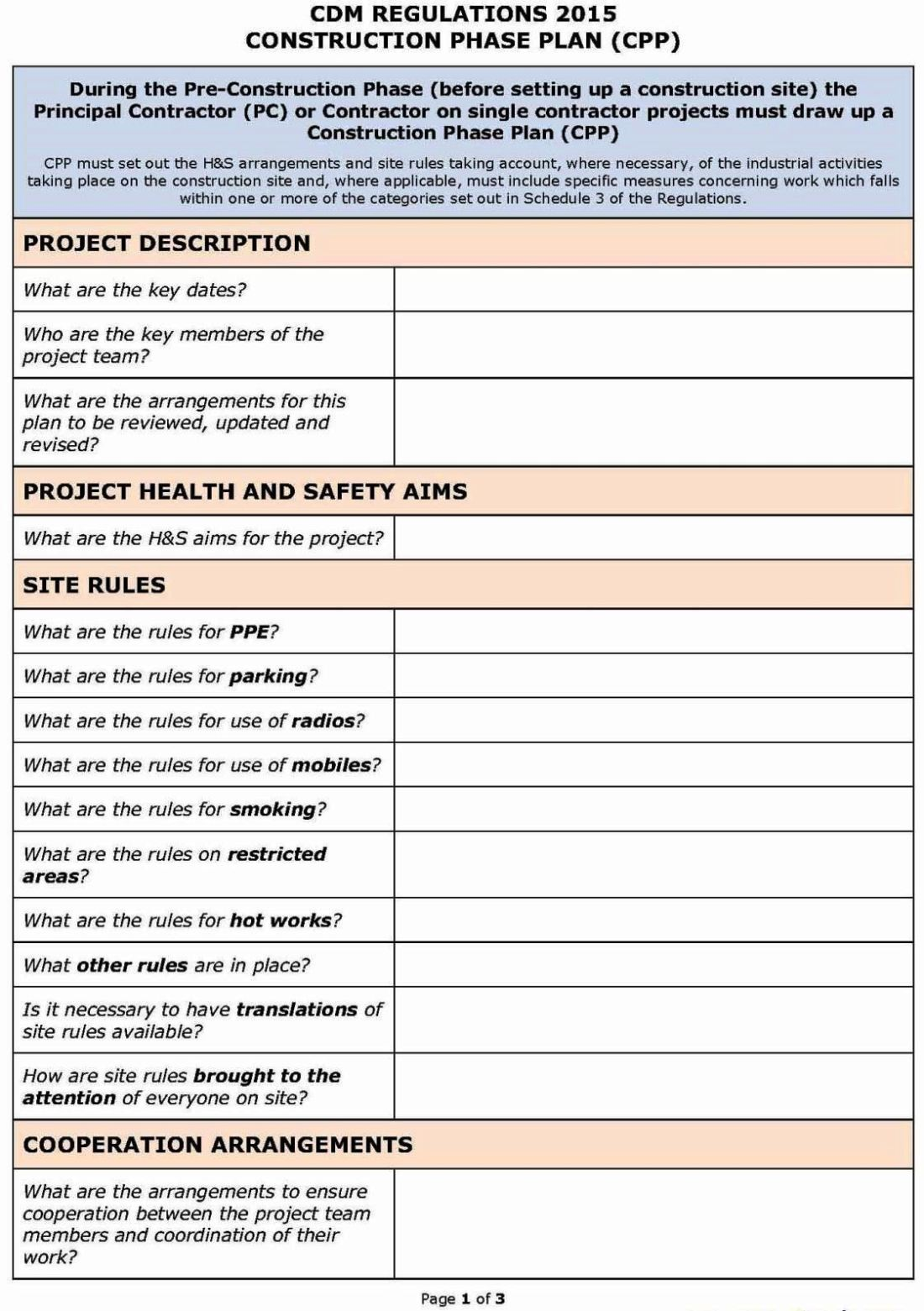 Site Specific Risk Assessment Template