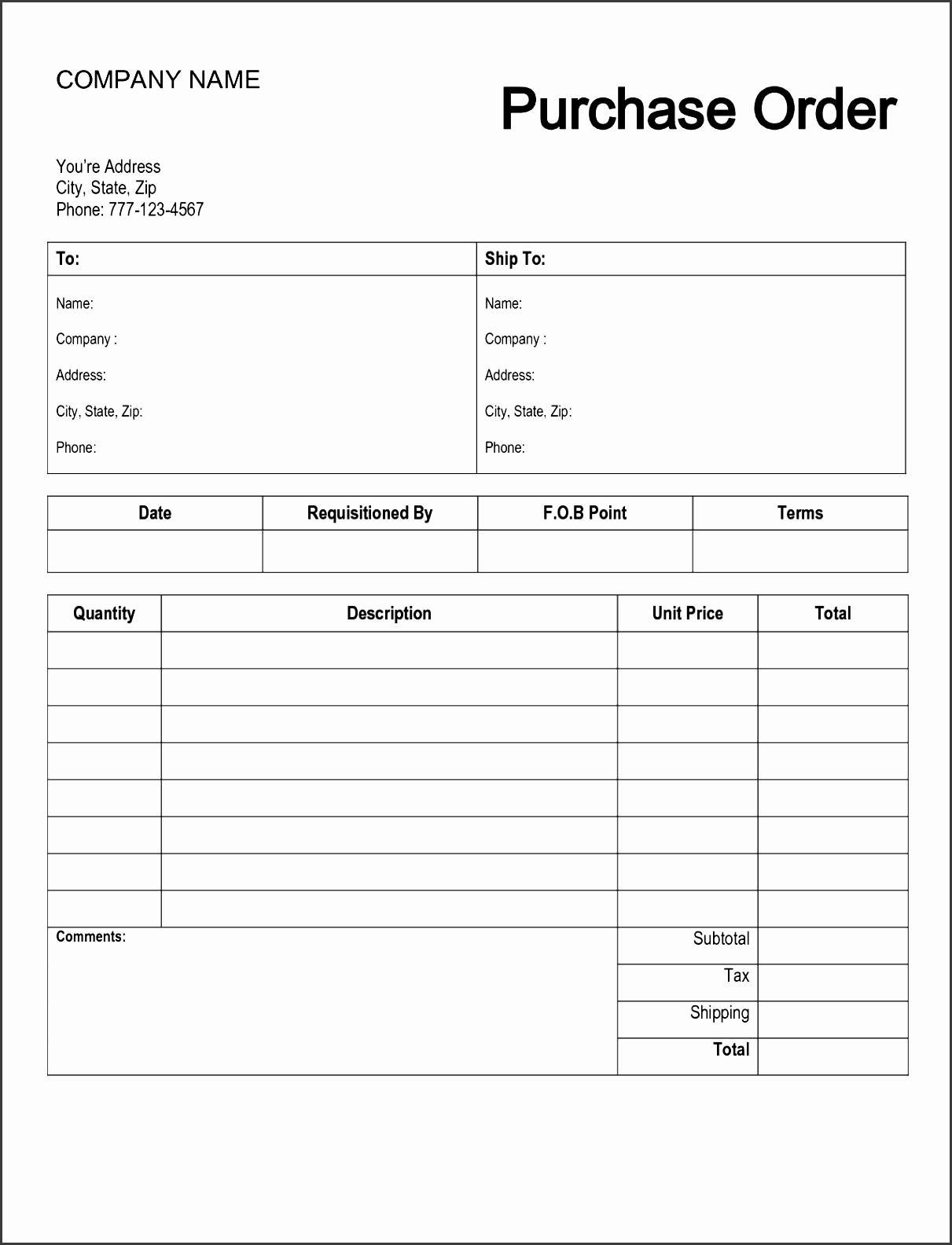 10 Editable Purchase Order Template