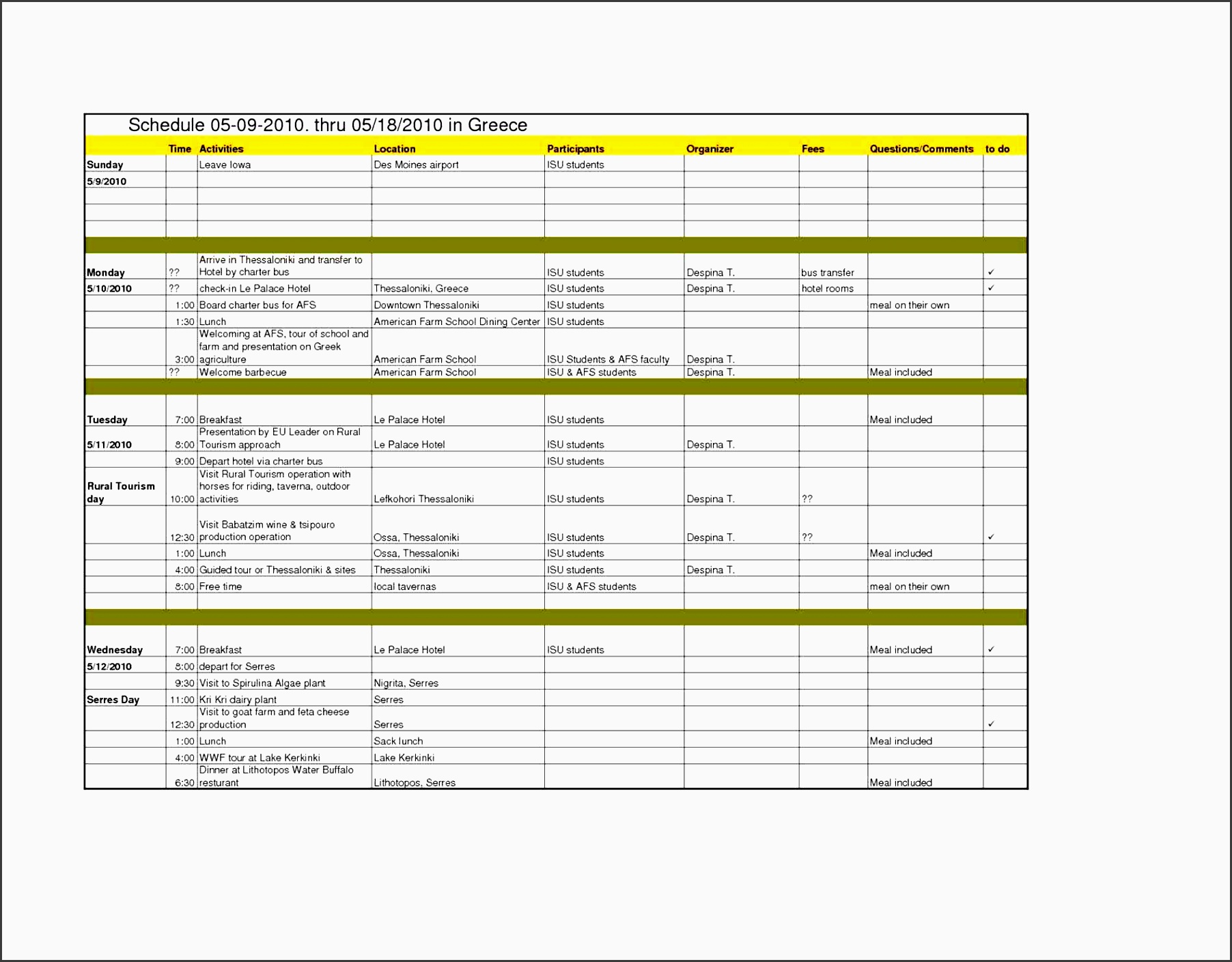 7 Editable Vacation Planner For Students