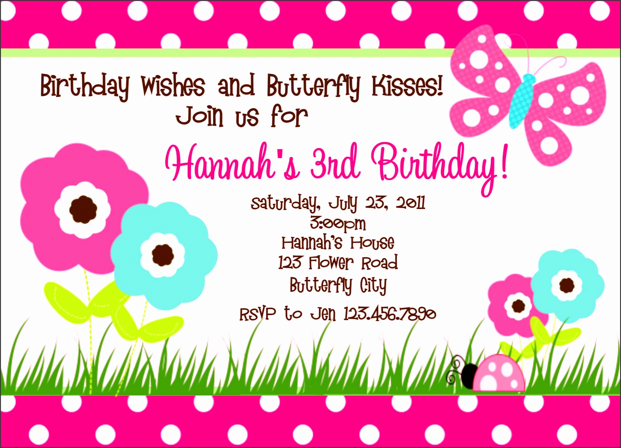 10 Girl Birthday Card Template