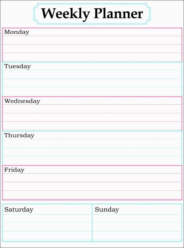 11 One Week Planner for Employees SampleTemplatess
