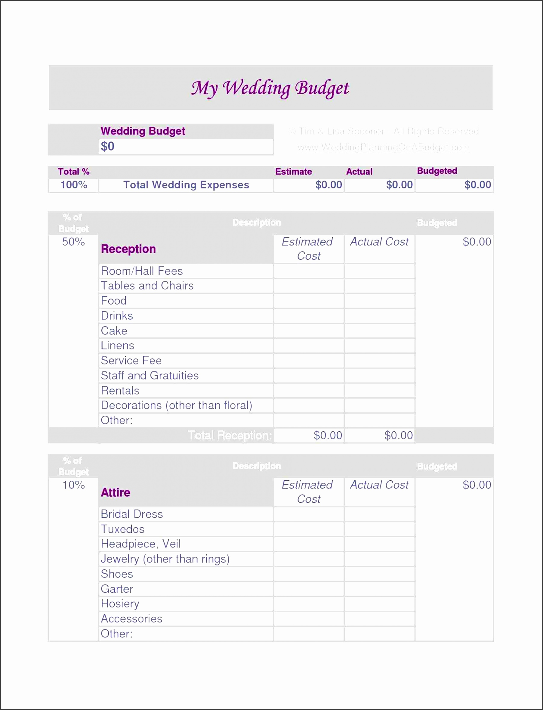 6 Personal Event Budget Template
