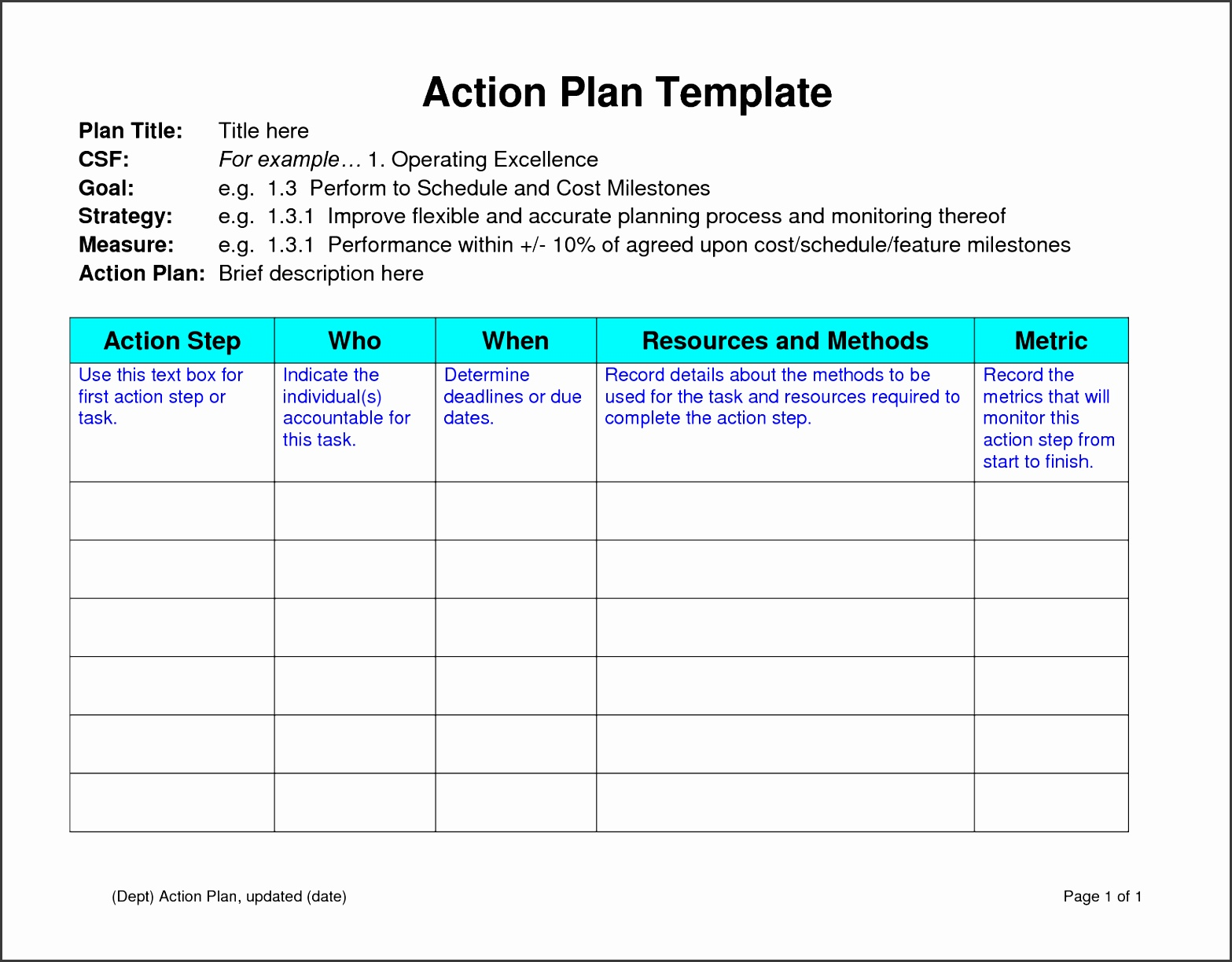 6 Action Planning Template