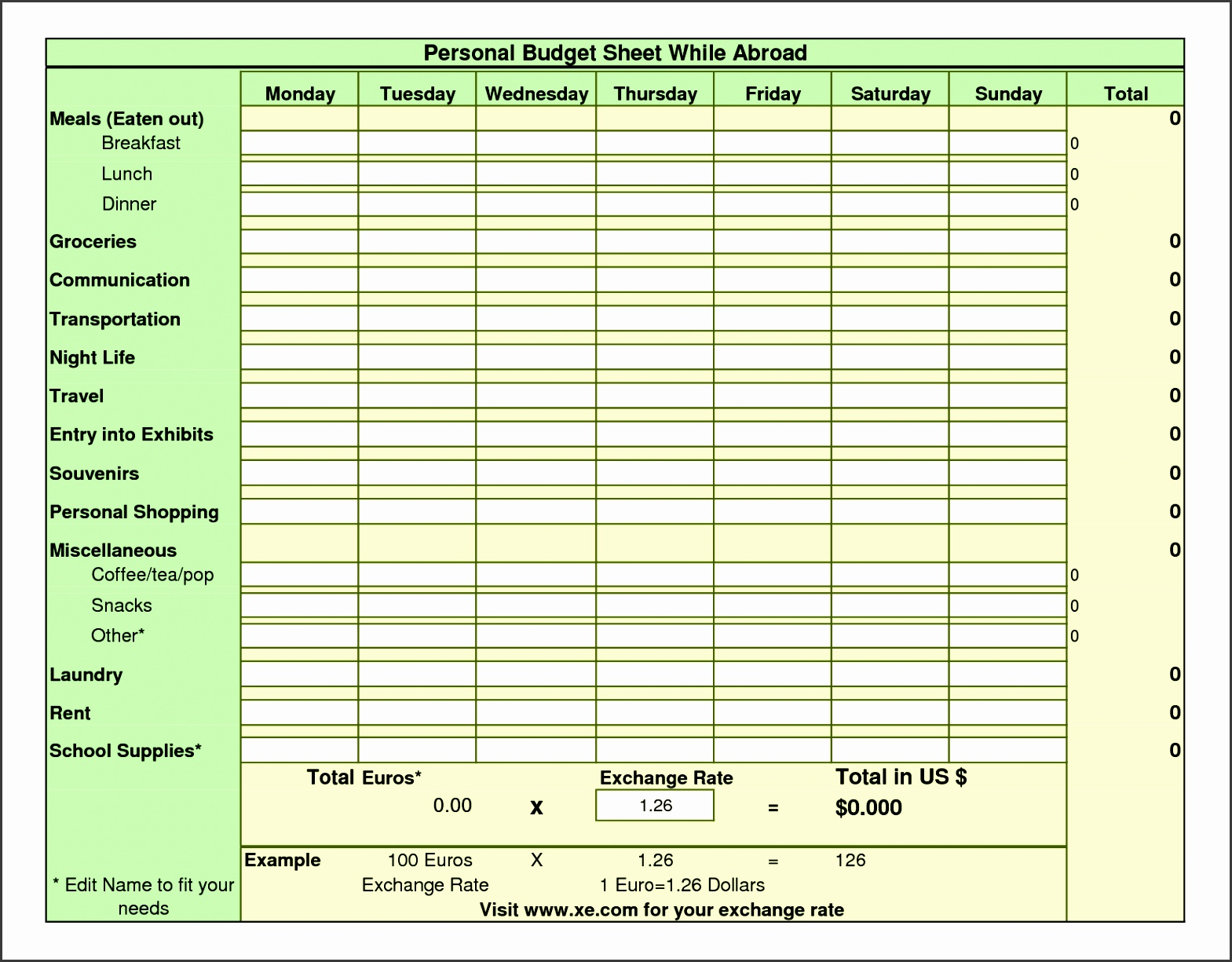 8 Daily Budget Spread Sheet Template