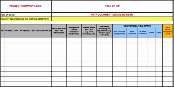 9 Inspection and Test Plan Template - SampleTemplatess ...