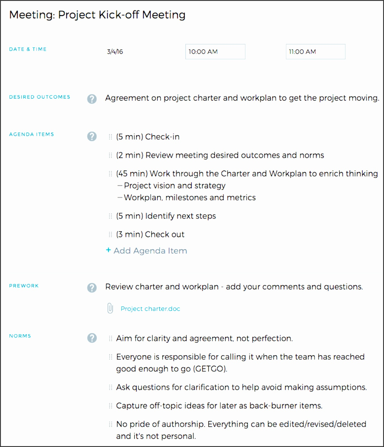 5 Project Kickoff Meeting Template