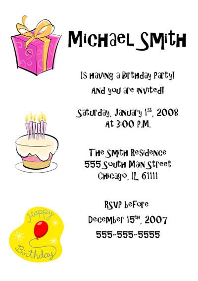 Download Birthday Invitation – Cake & Presents
