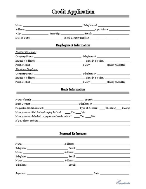 Blank Employee Application Templates