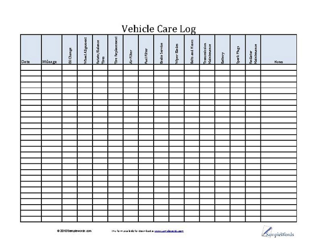 It has all the requested features, … Vehicle Care Log Printable Pdf Form For Car Maintenance