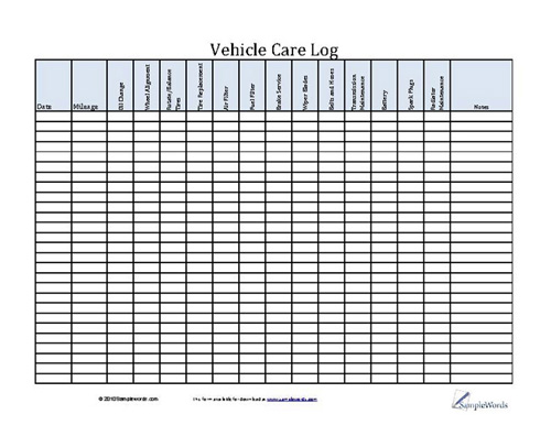 By regularly changing your own oil, you save money as you extend your car's life by thousands of miles. Vehicle Care Log Printable Pdf Form For Car Maintenance