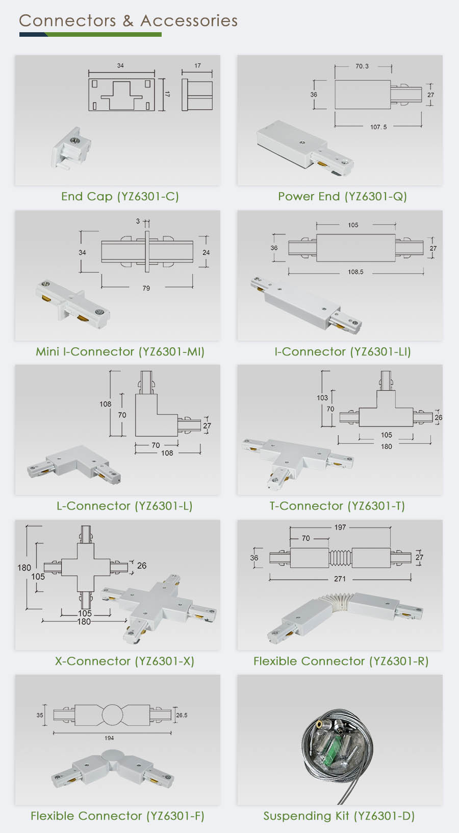 h type 3 wire 1 phase track lighting end power feed and connectors sampo lighting